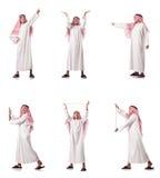 El hombre árabe que presiona los botones virtuales Foto de archivo