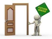 el hombre 3d, la puerta abierta y el futuro a continuación firman Foto de archivo libre de regalías