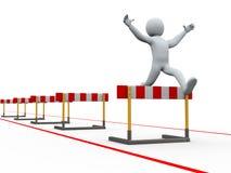 el hombre 3d valla el salto de la pista Imagen de archivo
