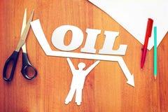 El hombre abstracto guarda precios del petróleo contra caer Imagen de archivo