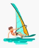 El hombre acomete en el tablero con la vela Forma de vida activa Windsurf, deporte acuático Fotos de archivo libres de regalías