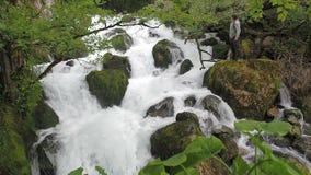 El hombre admira la cascada en una corriente tempestuosa del bosque tropical húmedo de un río de la montaña El agua potable se al almacen de metraje de vídeo