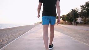 El hombre adulto está caminando sobre la trayectoria a lo largo del terraplén del mar en el tiempo de la puesta del sol, opinión  almacen de metraje de vídeo