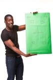 El hombre africano sonriente como hombre de negocios negro con Fotos de archivo libres de regalías