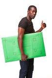 El hombre africano sonriente como hombre de negocios negro con Imagen de archivo libre de regalías