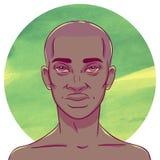 El hombre afroamericano con la cabeza calva en un fondo de la acuarela circunda Imagen de archivo