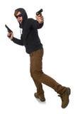 El hombre agresivo con el arma aislado en blanco Imagen de archivo