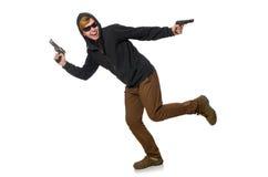El hombre agresivo con el arma aislado en blanco Fotografía de archivo