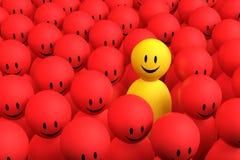 el hombre amarillo 3d sale de una muchedumbre roja Fotos de archivo libres de regalías