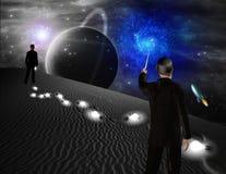 El hombre apunta en la dirección de la galaxia en escena de la ciencia ficción ilustración del vector