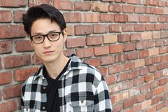 El hombre asiático atractivo con los vidrios se cierra encima del retrato Imagen de archivo