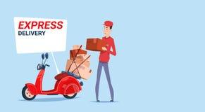 El hombre asiático del envío express entrega las cajas con el mensajero retro Service Template Banner de la vespa libre illustration