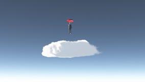 El hombre asoma sobre la nube Imagen de archivo libre de regalías
