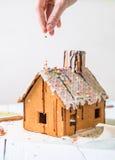 El hombre asperja la aspersión hecha en casa de la confitería de la casa de pan de jengibre Imágenes de archivo libres de regalías