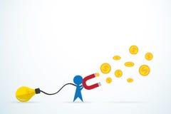 El hombre azul atrae el dinero con una bombilla y un imán grande, idea y concepto del negocio Fotos de archivo