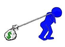 El hombre azul lucha para guardar el dinero Imágenes de archivo libres de regalías
