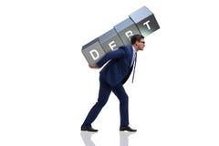 El hombre bajo deuda aislado en blanco imagenes de archivo