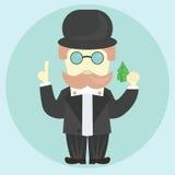 El hombre (banquero, financiero) da consejo con el dinero libre illustration