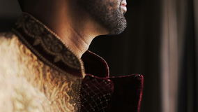 El hombre barbudo hermoso mira a través de la ventana almacen de metraje de vídeo
