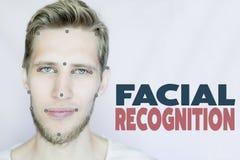 El hombre barbudo joven facial y el concepto del reconocimiento del ojo aislaron el fondo fotografía de archivo