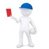 el hombre blanco 3d con la bola del voleibol muestra la tarjeta roja Imágenes de archivo libres de regalías