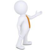 el hombre blanco 3d señala la mano Imagen de archivo libre de regalías