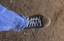 El hombre calza textura del fondo de la lona Imagenes de archivo