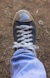 El hombre calza textura del fondo de la lona Foto de archivo libre de regalías