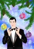 El hombre celebrador romántico del Año Nuevo Imagen de archivo libre de regalías