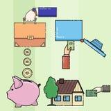 El hombre compra una casa, pone el dinero en la caja fuerte libre illustration