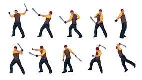 El hombre con el machete fijó 02 libre illustration