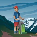 El hombre con el mapa y la mochila perdió en las montañas ilustración del vector