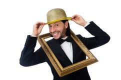 El hombre con el marco aislado en blanco Foto de archivo