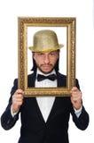 El hombre con el marco aislado en blanco Fotos de archivo libres de regalías