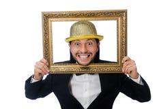 El hombre con el marco aislado en blanco Imagen de archivo libre de regalías