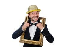 El hombre con el marco aislado en blanco Fotografía de archivo libre de regalías