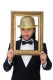 El hombre con el marco aislado en blanco Fotografía de archivo