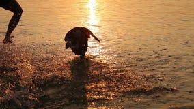 El hombre con el pequeño perrito del beagle que engaña alrededor en puesta del sol del océano agita almacen de metraje de vídeo