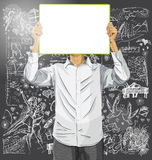 El hombre con escribe al tablero contra fondo del amor ilustración del vector