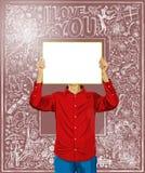 El hombre con escribe al tablero contra fondo del amor libre illustration