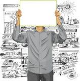 El hombre con escribe al tablero contra su cabeza ilustración del vector