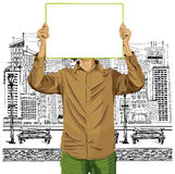 El hombre con escribe al tablero contra su cabeza libre illustration