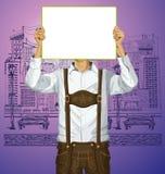 El hombre con escribe al tablero en Oktoberfest stock de ilustración