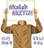 El hombre con escribe el alfabeto 02 del tablero y del bosquejo ilustración del vector