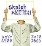 El hombre con escribe el alfabeto 02 del tablero y del bosquejo---02 libre illustration