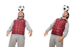 El hombre con fútbol aislado en blanco imagen de archivo