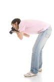 El hombre con la cámara aislada en un blanco Foto de archivo libre de regalías