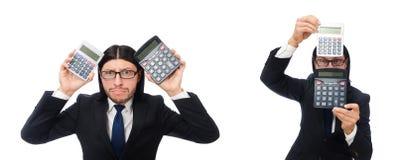 El hombre con la calculadora aislada en blanco foto de archivo