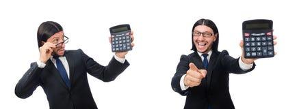 El hombre con la calculadora aislada en blanco imagen de archivo