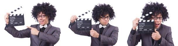 El hombre con la chapaleta de la película aislada en blanco Imagen de archivo